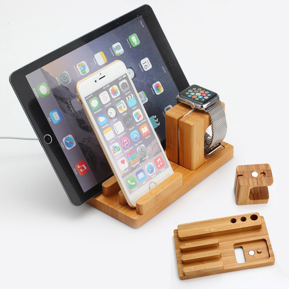 2016 hot selling for apple watch charging stand, for apple watch stand wood, 3 in 1 stand holder for iPhone iPad