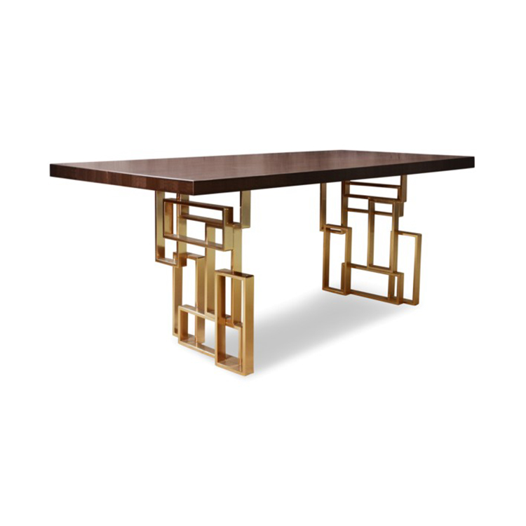 New design industry brass base <strong>square</strong> wooden top <strong>dining</strong> <strong>table</strong>