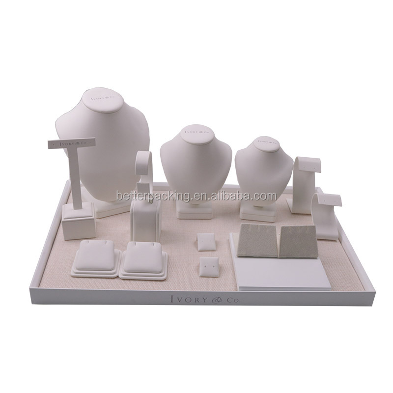 Customize Logo Pu Leather Jewelry Display Showcase Stand Tray Set