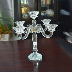 Top fashion cheap hanging wedding table centerpiece crystal candlestick 3 arms crystal candelabra