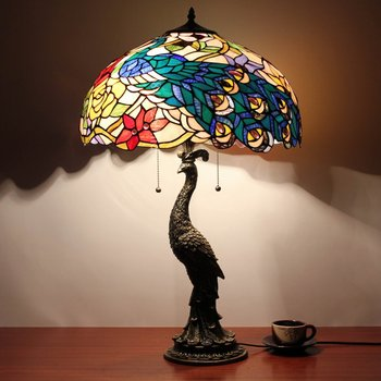 20inch Wide Wholesale Tiffany Style With Table Lamp With Peacock