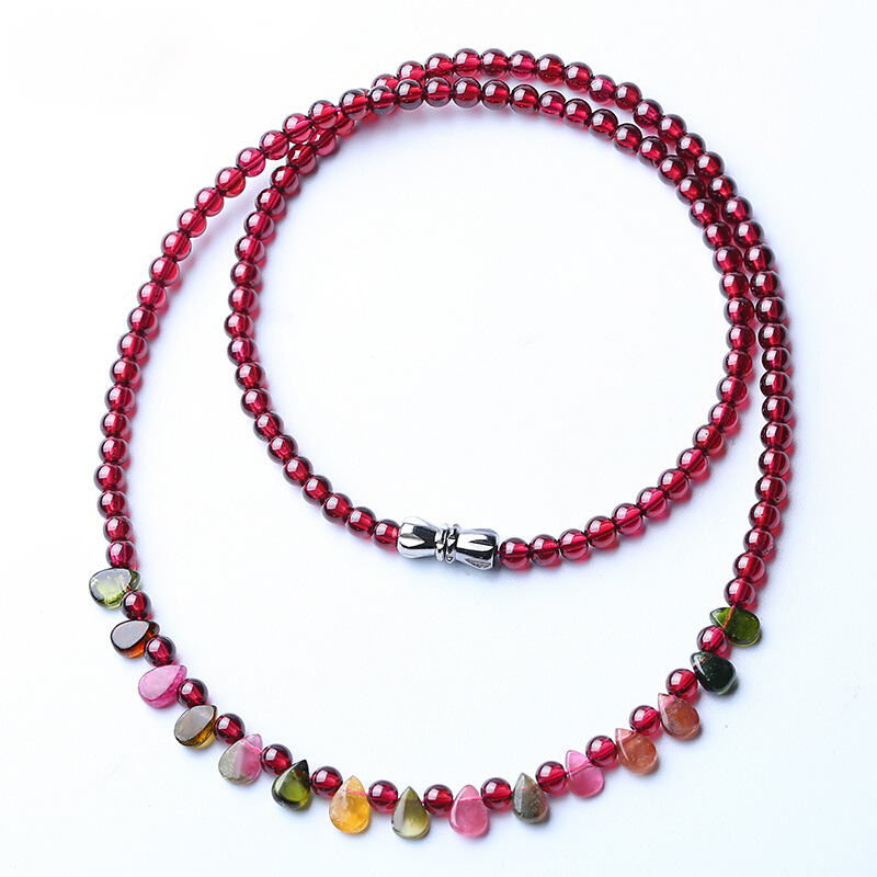 Natural wine red garnet beads necklace tourmaline drop shape necklace