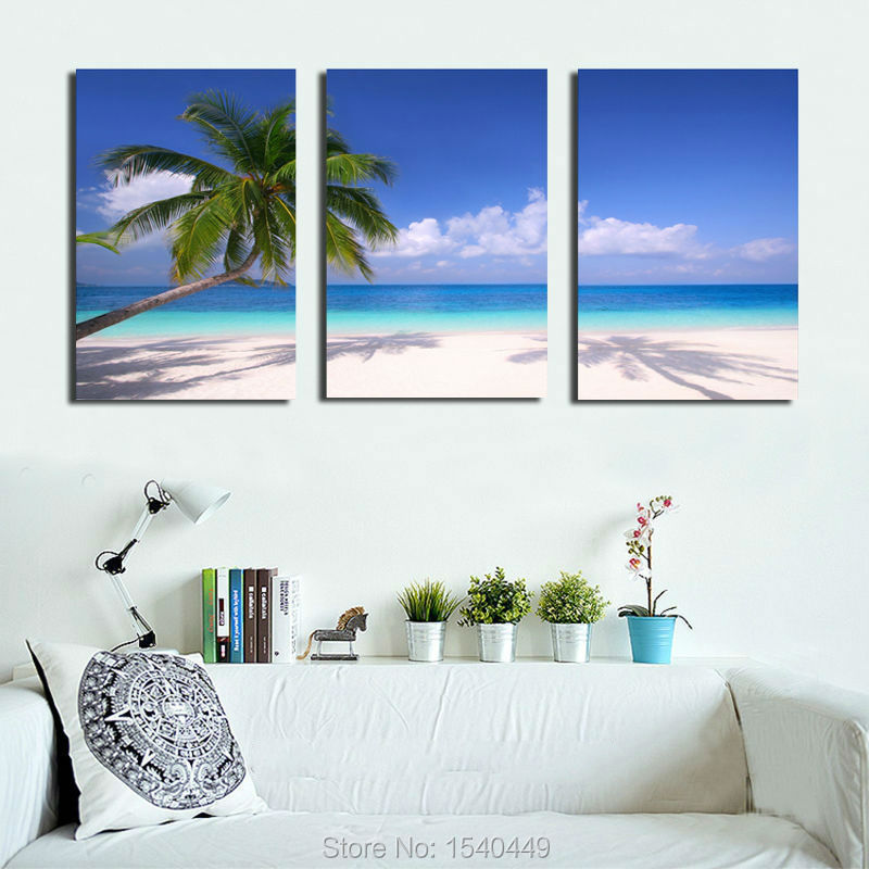 3 panels Beach Palm Landscape Oil Paintings Home Decorative Art Paint On Canvas Prints Wall Pictures Set HD Printing Painting
