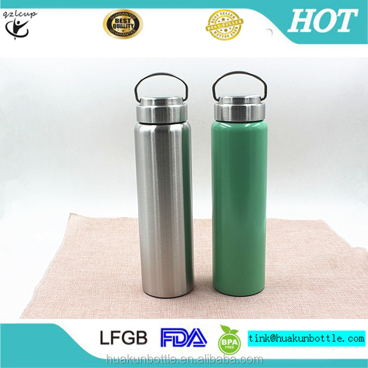 2017 new style double wall 750 ml 18/8 stainless steel insulated vacuum plain travel sport water bottle for outdoor