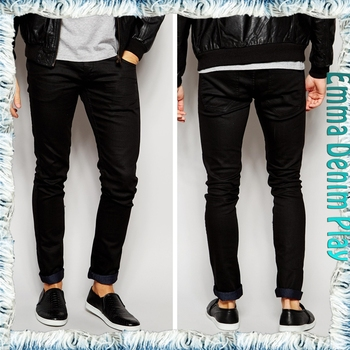 Premium Black Pent Low Cut Acid Wash Men's Skinny Denim Jeans Bulk ...
