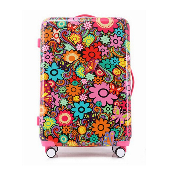 Colorful Flower Series ABS+PC Trolley Suitcase with High Quality