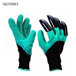 FasterS 1 Pair New Gardening Gloves for Garden Digging Planting Garden Genie Gloves with 4 ABS Plastic Claws
