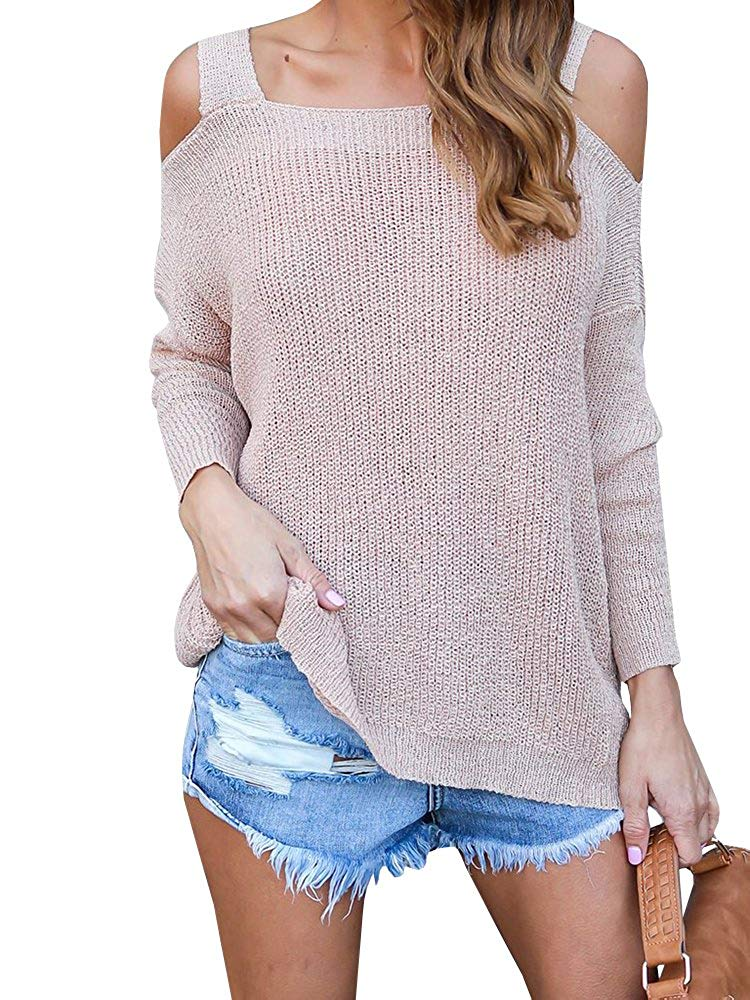 KunLunMen Womens Casual Cold Shoulder Long Sleeve Loose Knitted Sweater Top Blouse