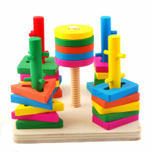 Exempt postage suit blocks of five pillars intelligence learning and education of baby toys wooden children