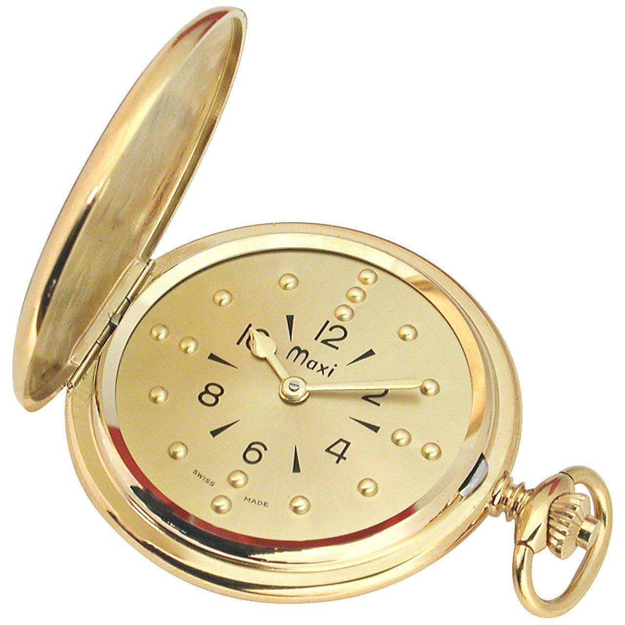 Mens Gold-Tone Quartz Pocket Braille Watch
