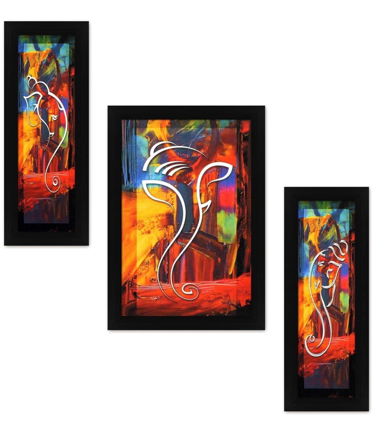 Avercart 3-Piece Set of Lord Ganesha / Shree Ganesh / Shri Ganpati Poster 12x18 inch with Photo Frame (30x45 cm framed)