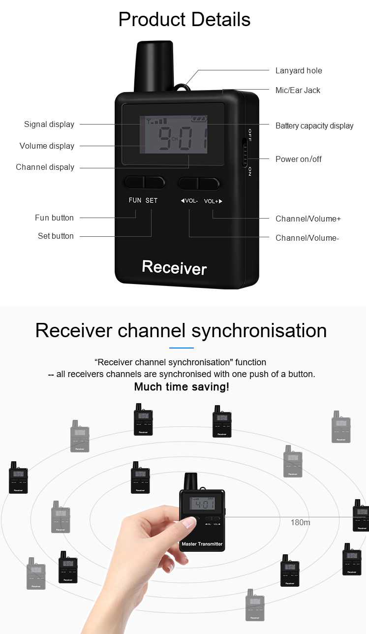 2 Transmitters + 43 Receivers One Set Wireless Audio Tour Guide System With Waterproof Bag