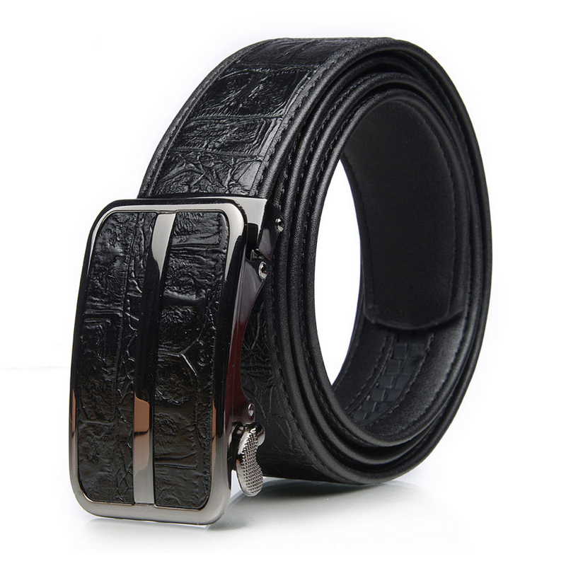 Genuine Crocodile Pattern Leather Mens Brown Belt New Automatic Buckle Luxury Mens Belts Designer Classic Jeans Accessories