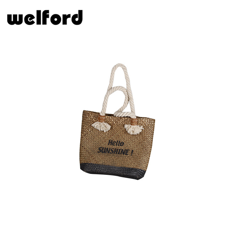 Gift shop wholesale natural rattan handbag with beautiful handle