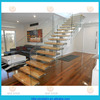 stainless steel straight staircae interior stairs with timber tread and glass railing