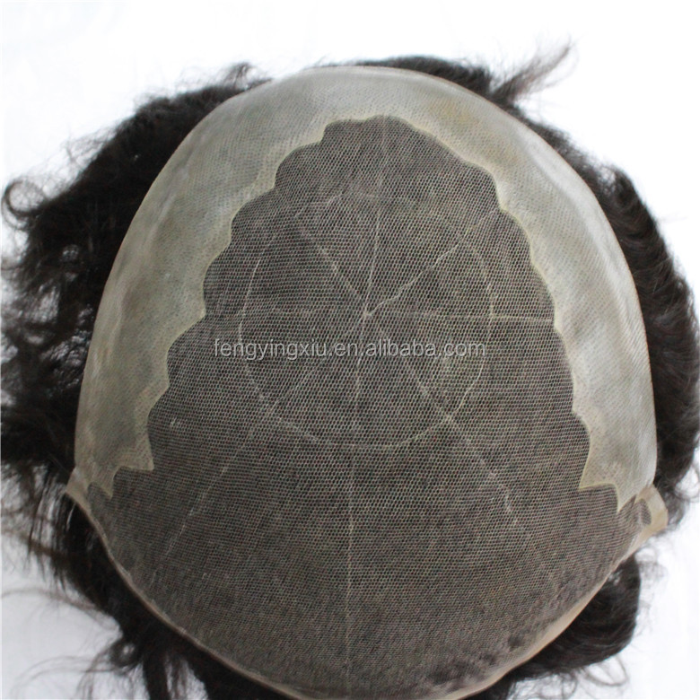 Human hair wig 20*25cm base size swiss lace base and NPU in back indian hair toupee for black men