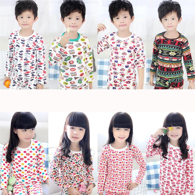 2012 winter boys clothing girls clothing child o neck plus velvet thickening B1454 thermal underwear set