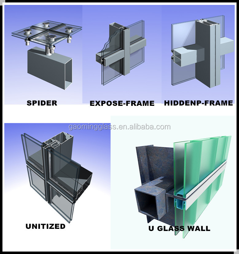 Hidden Aluminum Frame Glass Curtain Wall Construction