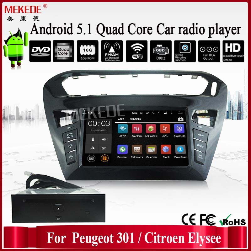 Android Car DVD Player for Peugeot 301 Citroen Elysee Quad Core Car Multimedia Navigation Support 3G Wifi Buletooth Radio