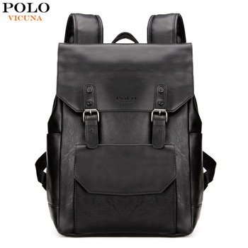 5ee30739d18b VICUNA POLO New Arrival Black PU Leather Backpack Men s Laptop Backpack  With Double Belt Large Capacity