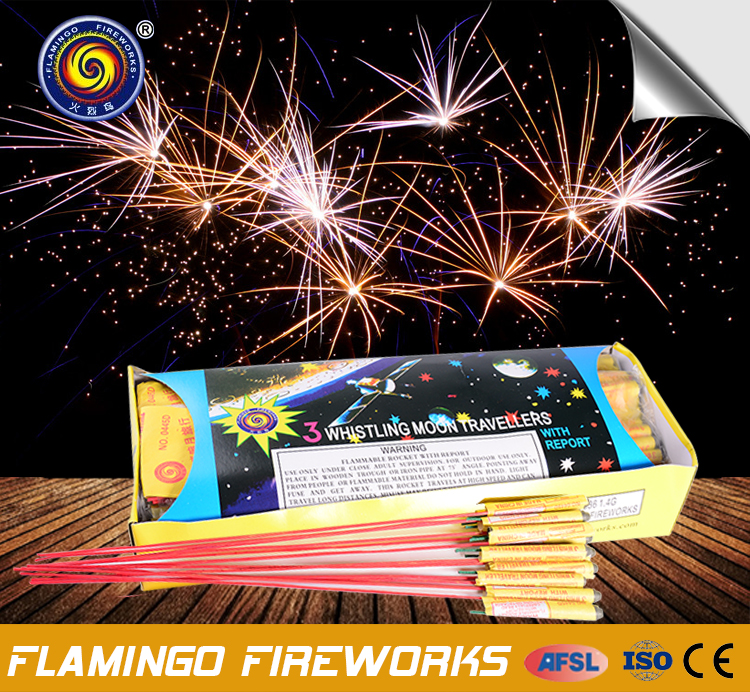 Amazing quality 3 Whistling Moon Travellers rocket fireworks rocket pack