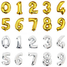 1PCS 16inch Gold Silver Number Foil Balloons Kids Party Decoration Happy Birthday Wedding Balon Globos Number Children's gifts