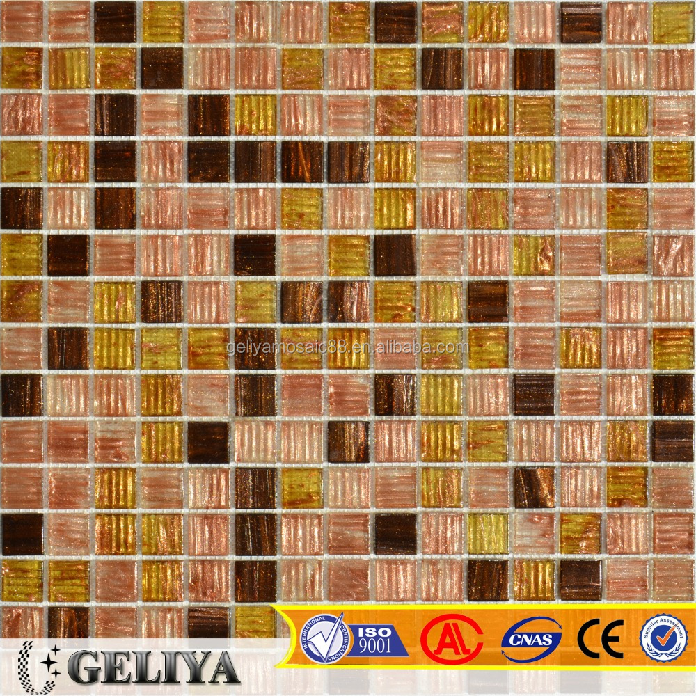 gold line glass mosaic building material glass mosaic tile for wall B02