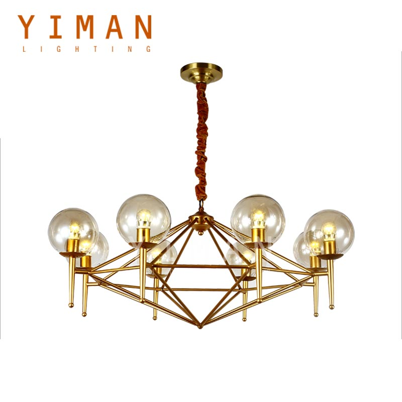 Hot Selling Iron Glass Gold/Chrome Pendant Lamps