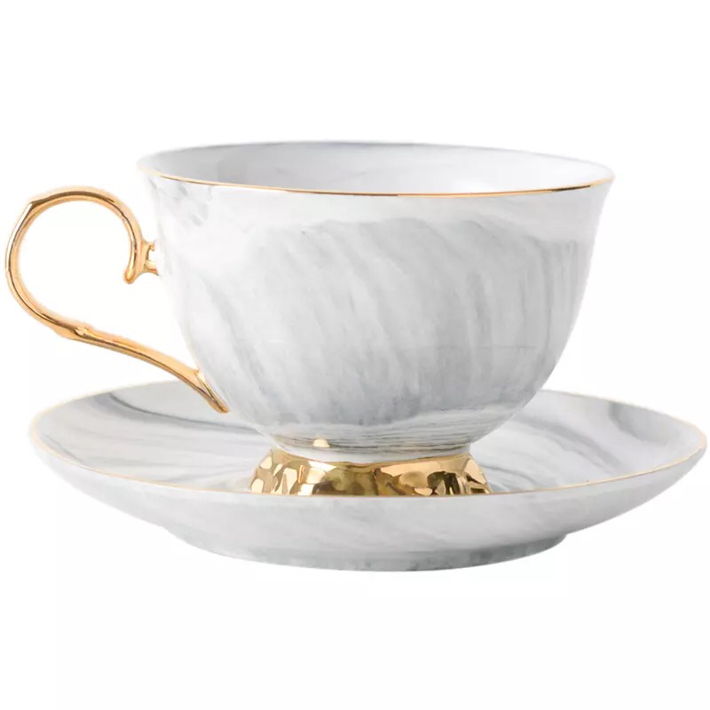 New product wedding drinkware luxury marble porcelain ceramic tea cup and saucer set