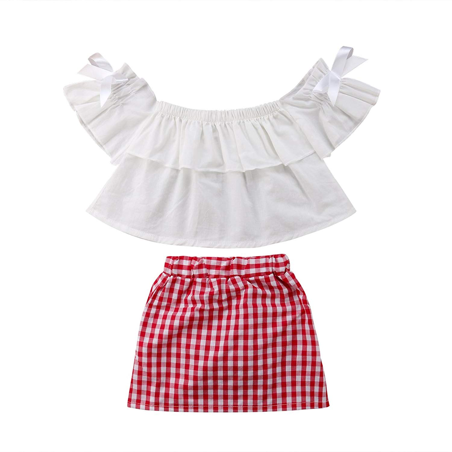 7d781f6fbbf0 Baby Girls Off-Shoulder Ruffles Tops Plaid Check Skirt Dress Kids Girl  Bowknot Dress Clothes
