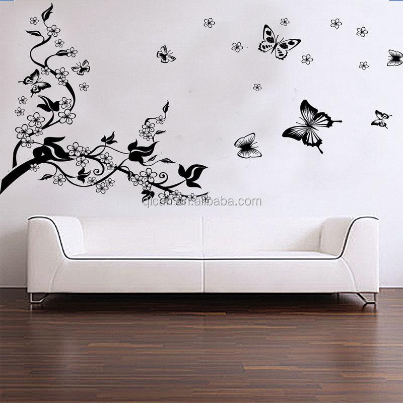 Noir Papillon Auto Adhésif Famille Arbre Wall Sticker Salon Chambre Meubles  Décoration Fresque Autocollants