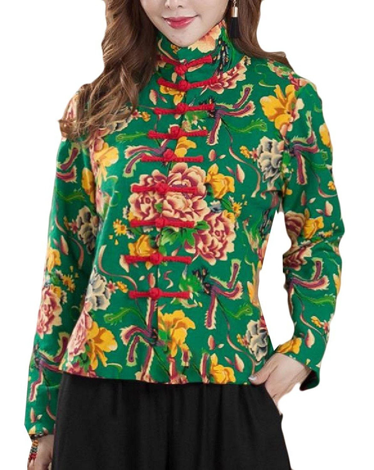 Abetteric Women's Floral Print Chinese Style Stand Collar Anorak Jacket