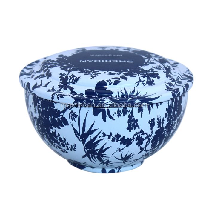 custom design bowl shape candle tin