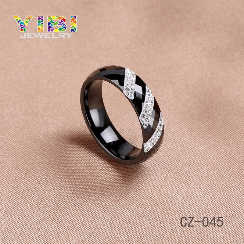 OEM Jewelry Manufacturer Custom Fashion Jewelry High Quality Faceted Cutting Ceramic CZ Ring
