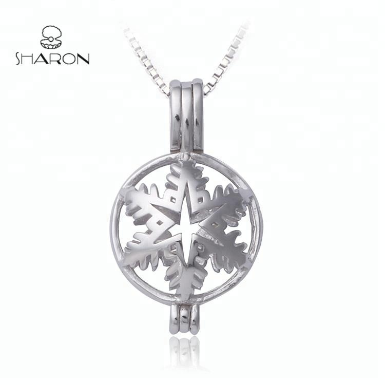Wholesale Halloween Christmas Gift Snowflake Sterling Silver Freshwater Pearl Cage Pendant 925 фото