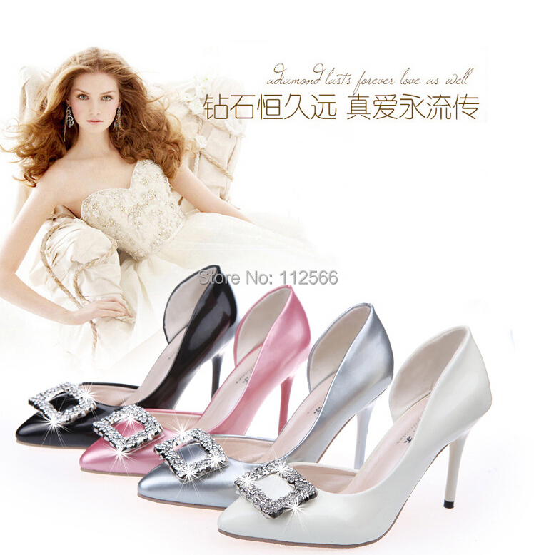 2015 European Ladies PU Leather Luxury Rhinestone High Heel Pumps Women Fashion Pointed Toe 9cm Thin Heel Wedding Shoes 4 Colors