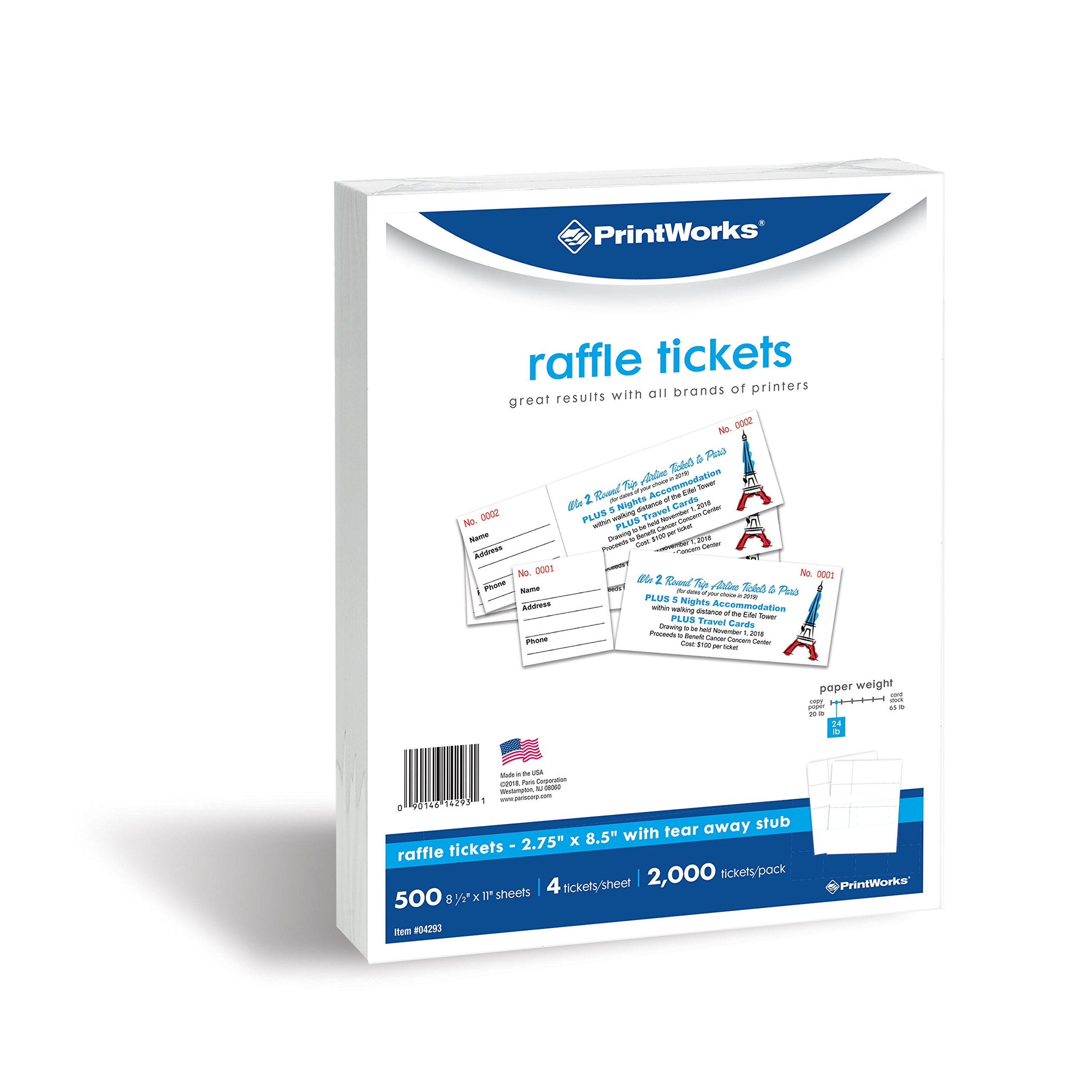 PrintWorks Perforated Paper for Raffle Tickets, Deposit Tickets, and More, Tear-Away Stubs, 8.5 x 11, 24 lb, 4 Tickets Per Sheet, 500 Sheets, 2000 Tickets Total, White (04293-1)