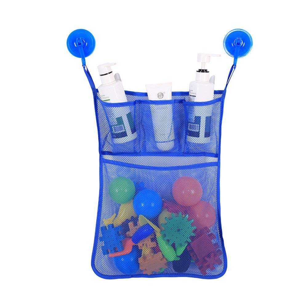 FEOOWV Mesh Bath Toy Organizer Quick Dry Bathtub Mesh Net - Massive Baby Toy Storage (Blue)