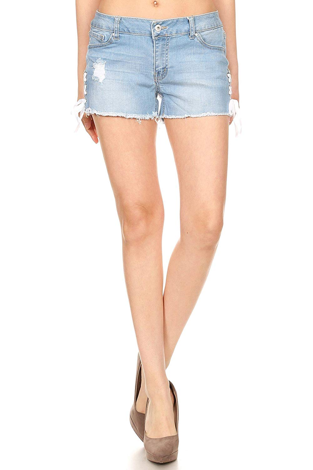 Ambiance Apparel Women's Sexy Stretchy Denim Lace up Ripped Shorts Jeans