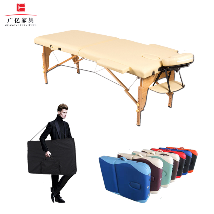 2-couleurs pliage chiropratique spa de massage lit 3 section Portable table de massage, salon de beauté facial lit, en bois table de massage