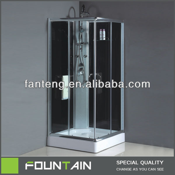 Toilet Shower Black Glass Clamp Feet Massager Shower Enclosure in Bathroom