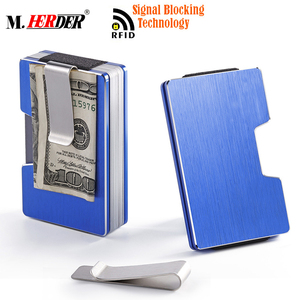 Metal rfid blocking business card holder with money clip