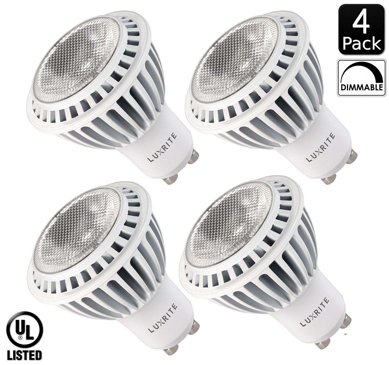 Luxrite LR21109 (4-Pack) 7-Watt MR16 GU10 LED Spotlight Bulb, 50W Halogen Equivalent, Dimmable, Soft White 3000K, 500 Lumens, 40° Beam Spread, 30,000 Hour Life, GU10 Base, UL-listed