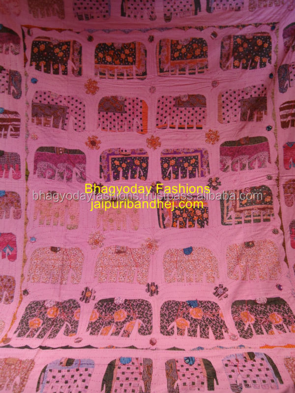Indian Vintage Reversible Quilt Made From Kantha,Hand Made ...
