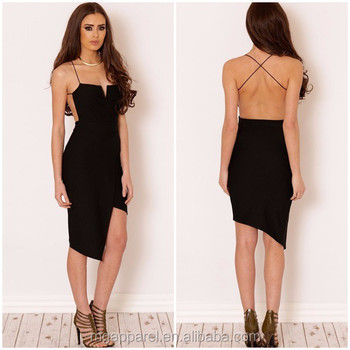 Cheap China Designer One Piece Party Dress Open Back Black Dress