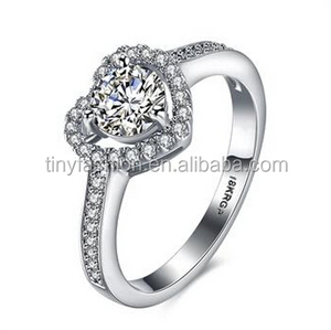 Classic wedding band ring jewel AAA zircon micro paved heart white gold bridesmaid ring