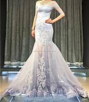 2017 New Slim Mermaid Off Shoulder Long Sleeves Informal Bridal Dress Strapless Casual Wedding Dress
