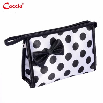 0a237c668e98 Polyester black and white polka dot cosmetic bags with zipper and handle