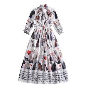 2018 Hawaii style leisure long skirt cat pattern chiffon dress with bow tie
