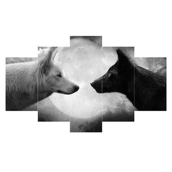 Hd Baskı 5 Adet Tuval Duvar Sanatı Siyah Beyaz Kurt Boyama Sanat Resim Ev Dekor Tuval Duvar Sanatı Tuval üzerine Baskı Boyama Buy Baskı 5 Adet Tuval